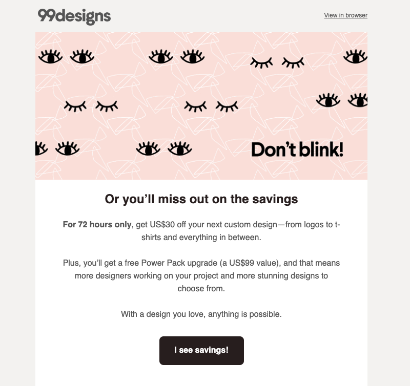 99designs promotional emails