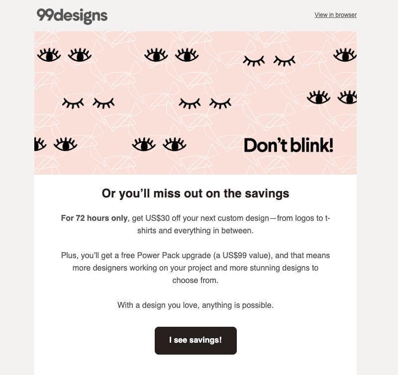 99designs promotional emails