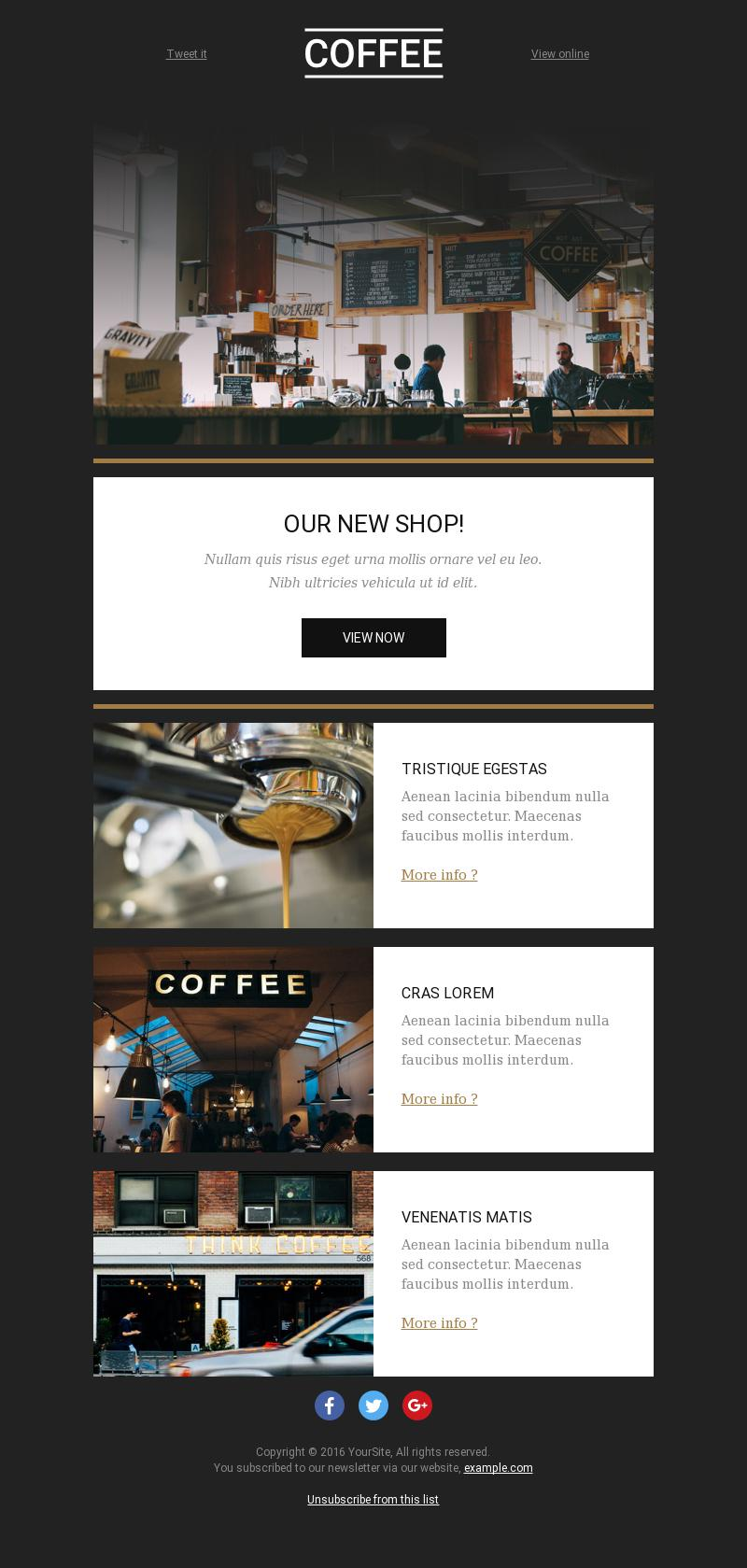 the coffee corner news best email template