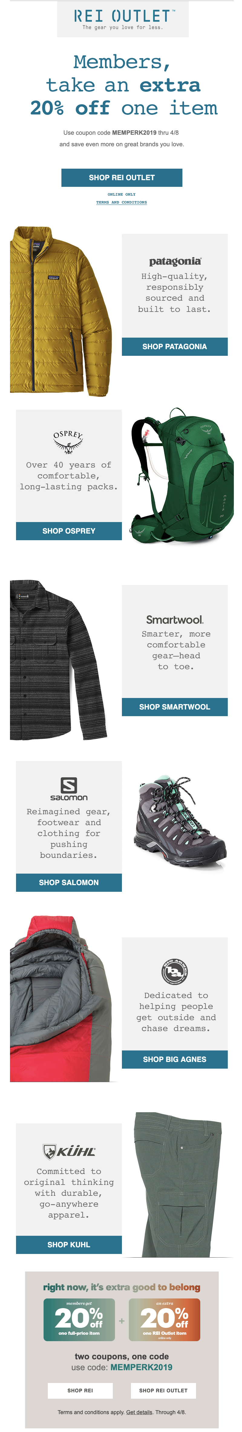 rei email marketing coupon