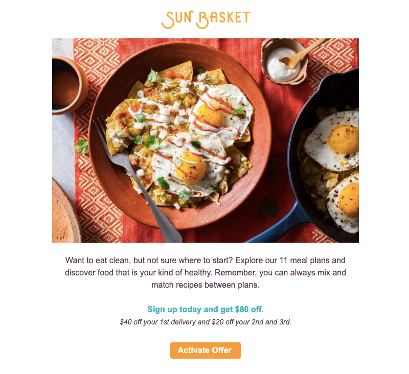 sunbasket promotional email template