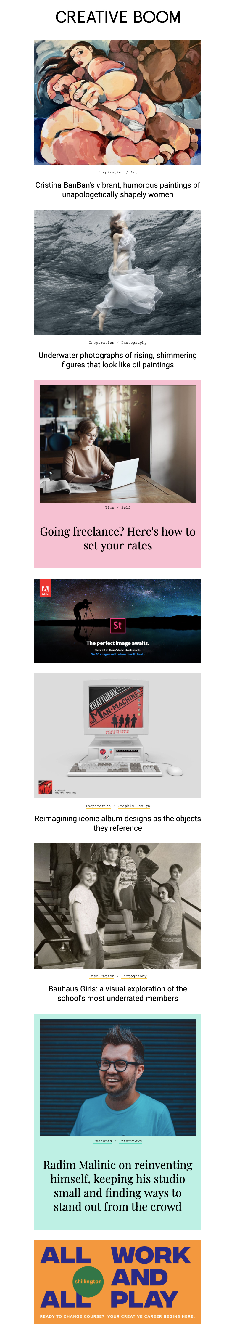 web newsletter template with content blocks