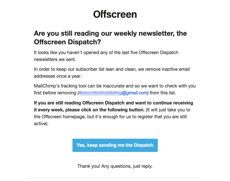 offscreen dispatch re-engagement email campaign