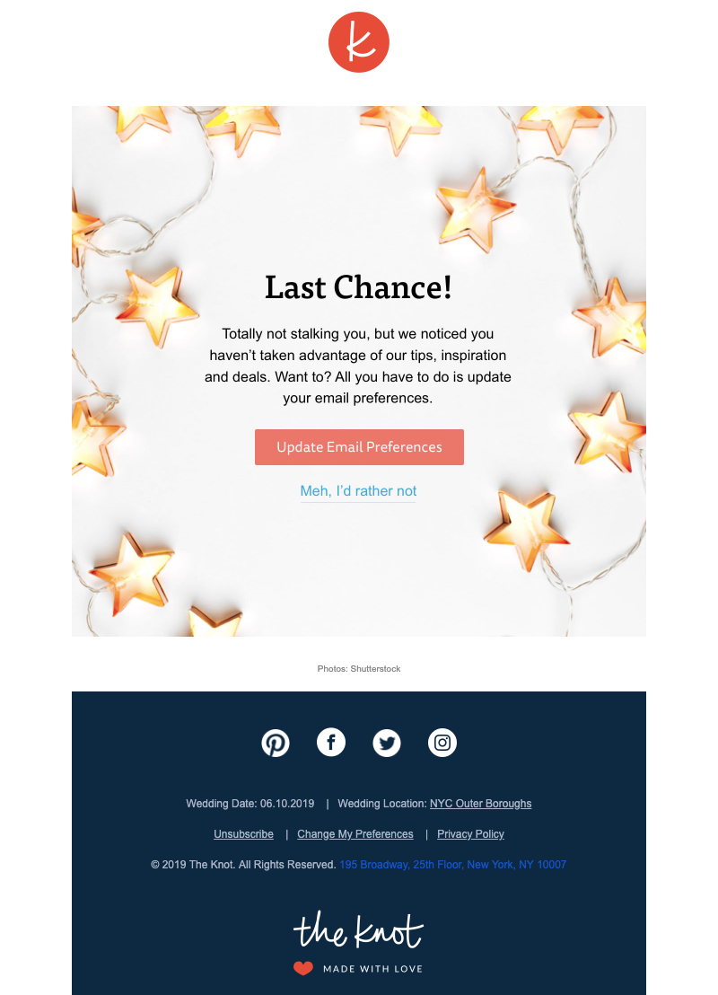 the knot engaging email example