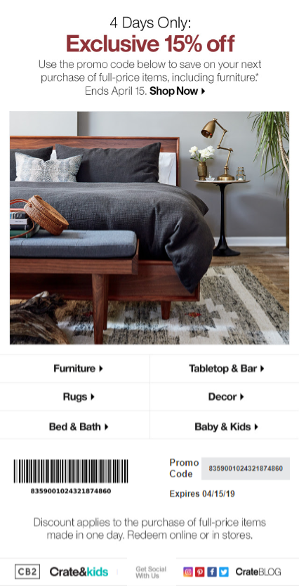 e-commerce re-engagement email from crate & barrel