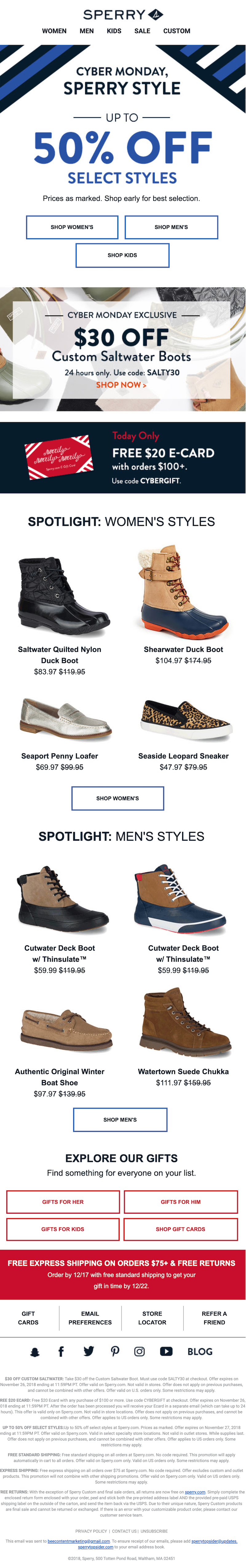 cyber monday sales email