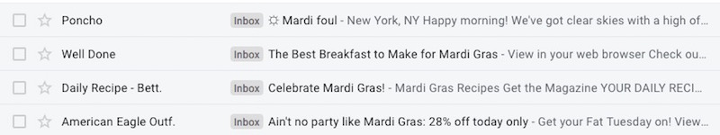 mardi gras subject lines