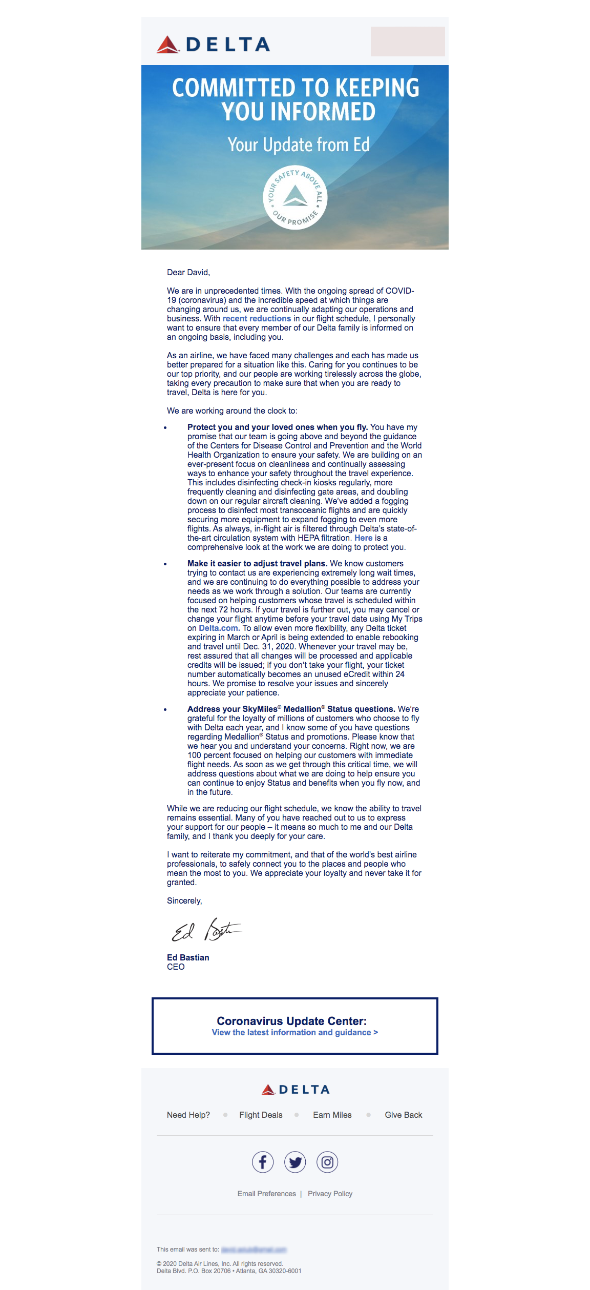 Delta Coronavirus Crisis Communication Email