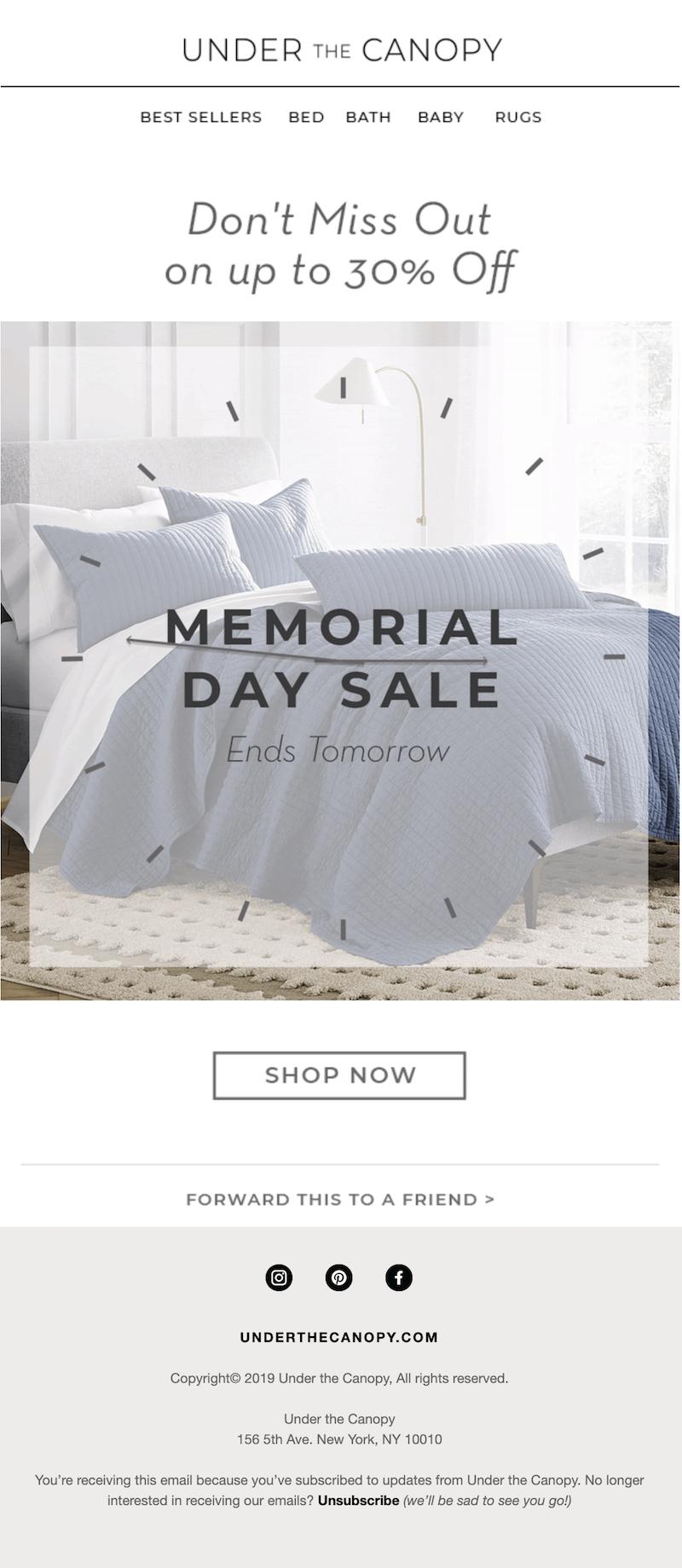 memorial day sales email
