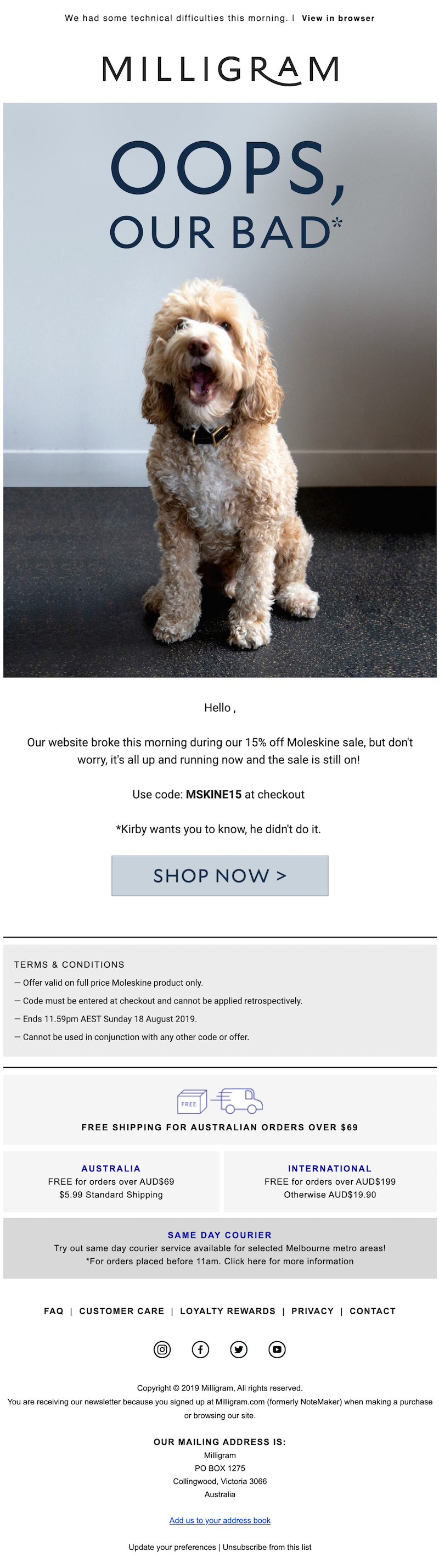 late delivery email example