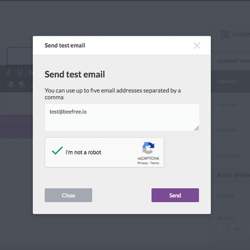send test email with bee