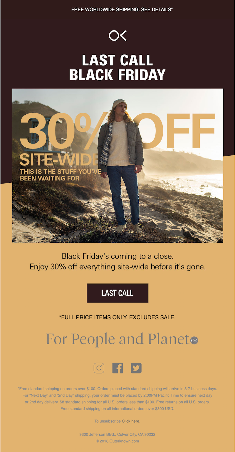 black friday promotional email