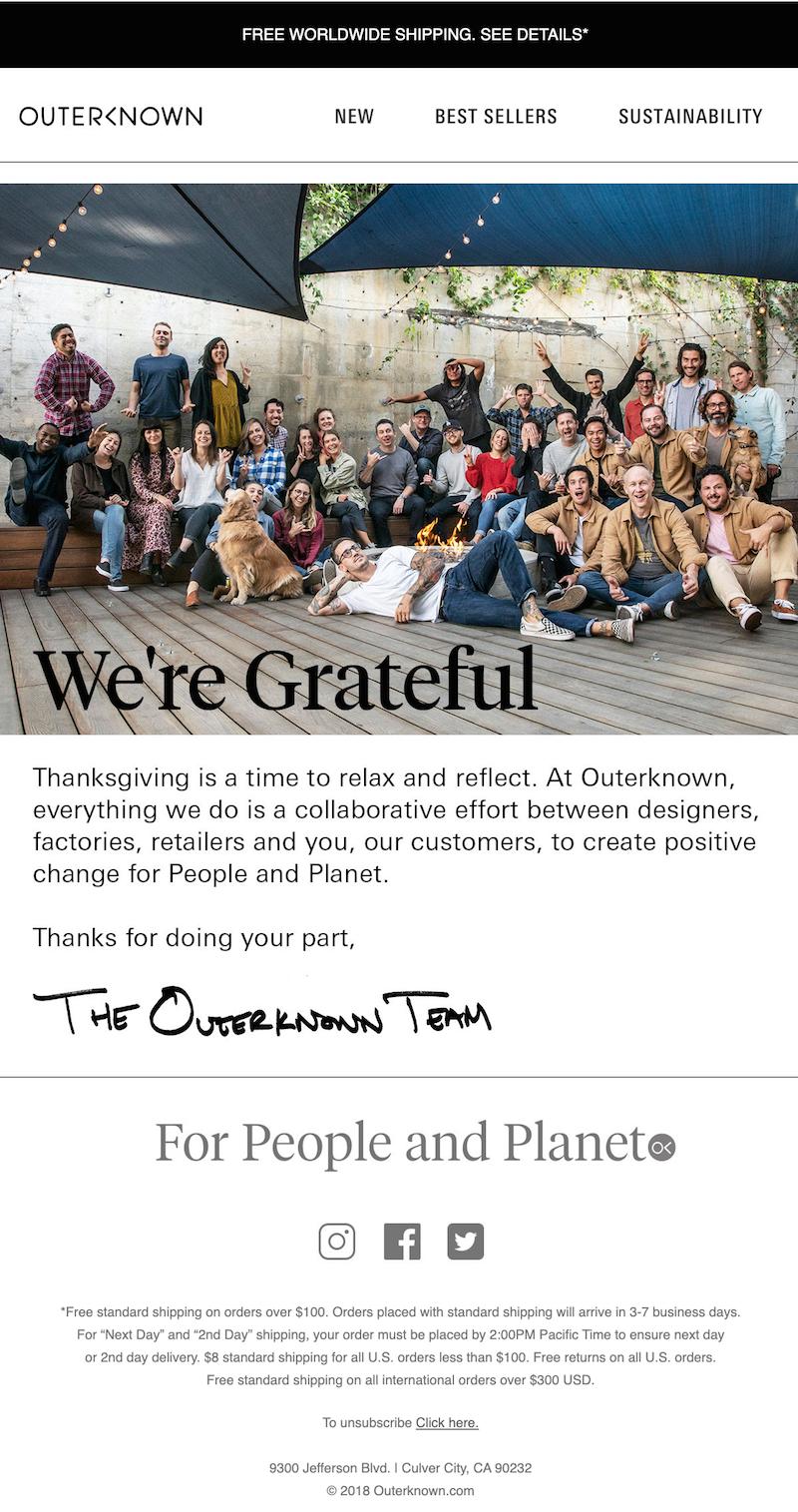 thanksgiving email marketing idea