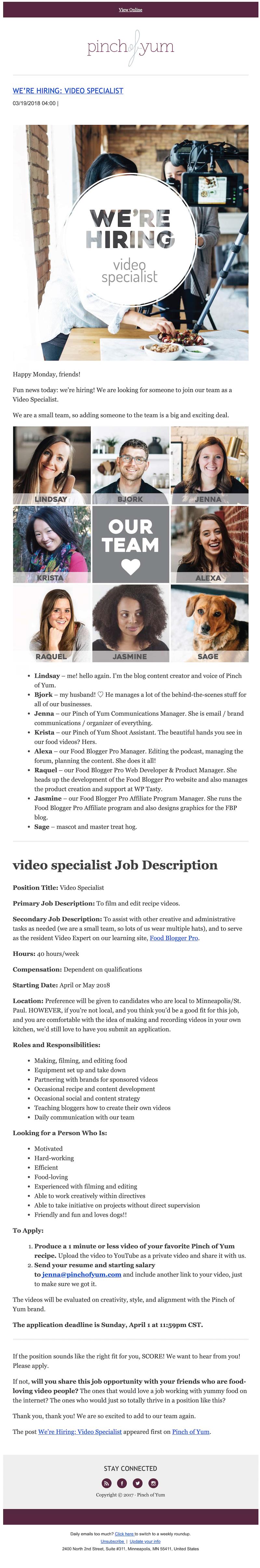 employer branding email idea