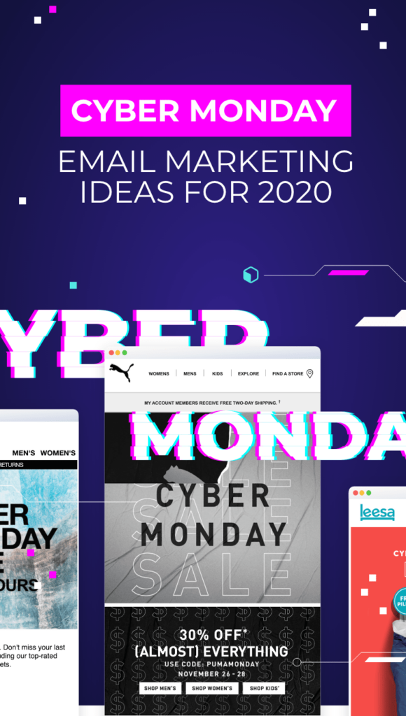 three emails form cyber monday