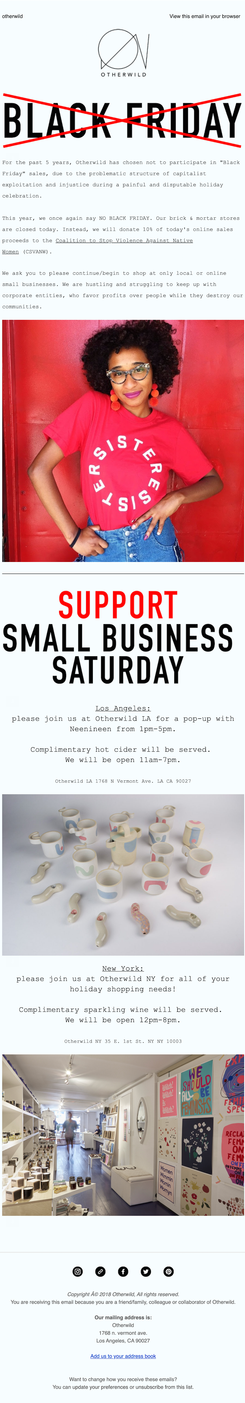 small business saturday email example