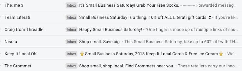 small business saturday email ideas