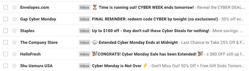 best cyber monday email subject lines