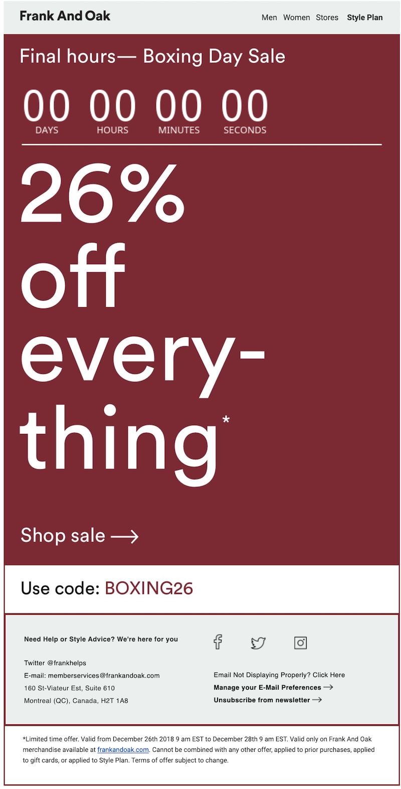 boxing day sale email