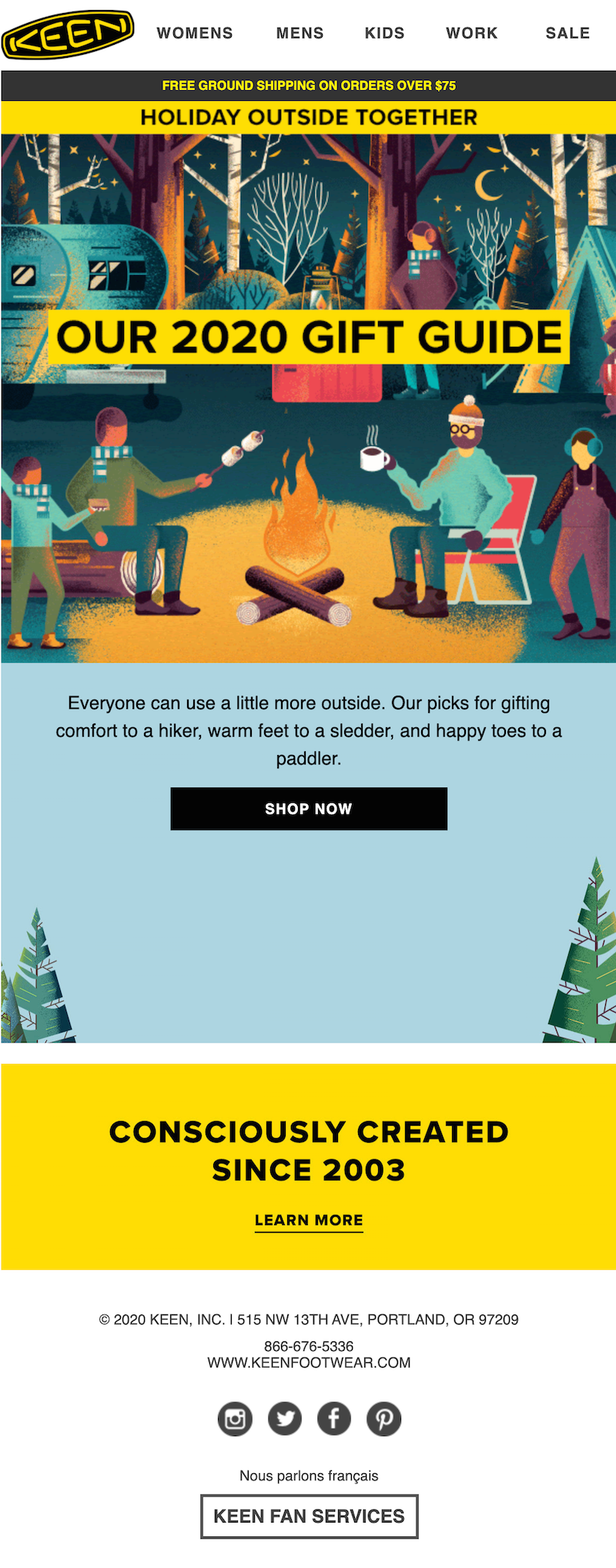 Christmas email with gift guide