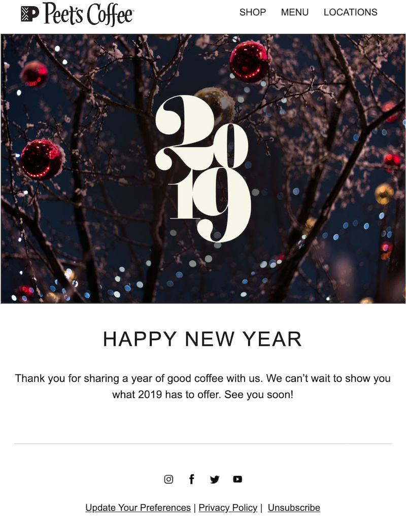 Happy New Year email to business clients