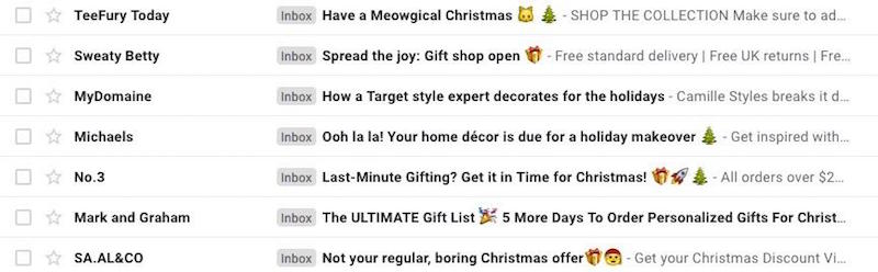 Christmas email subject lines