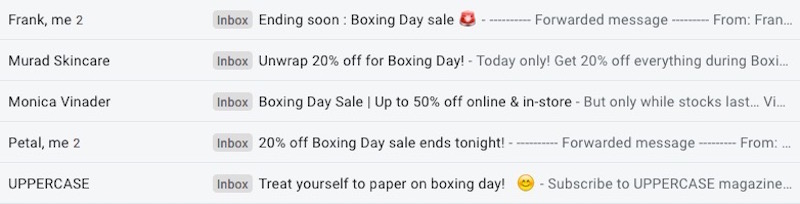 boxing day email subject lines