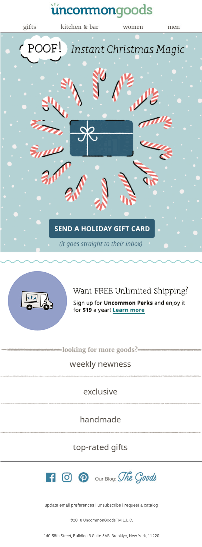 Christmas email with gif