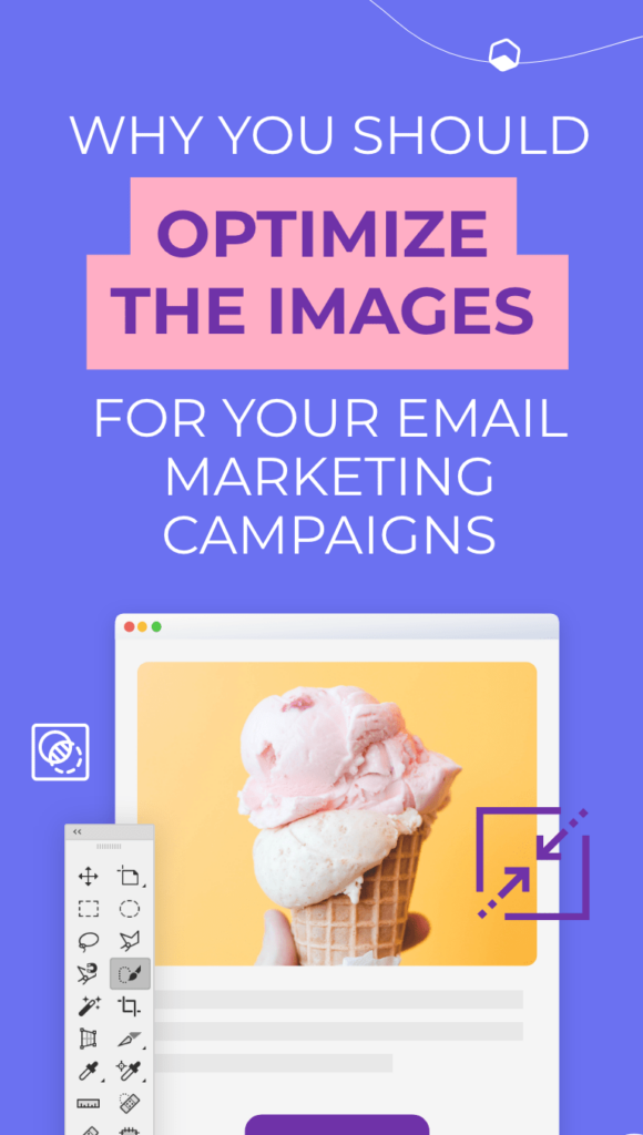 email layout with an image of an ice-cream