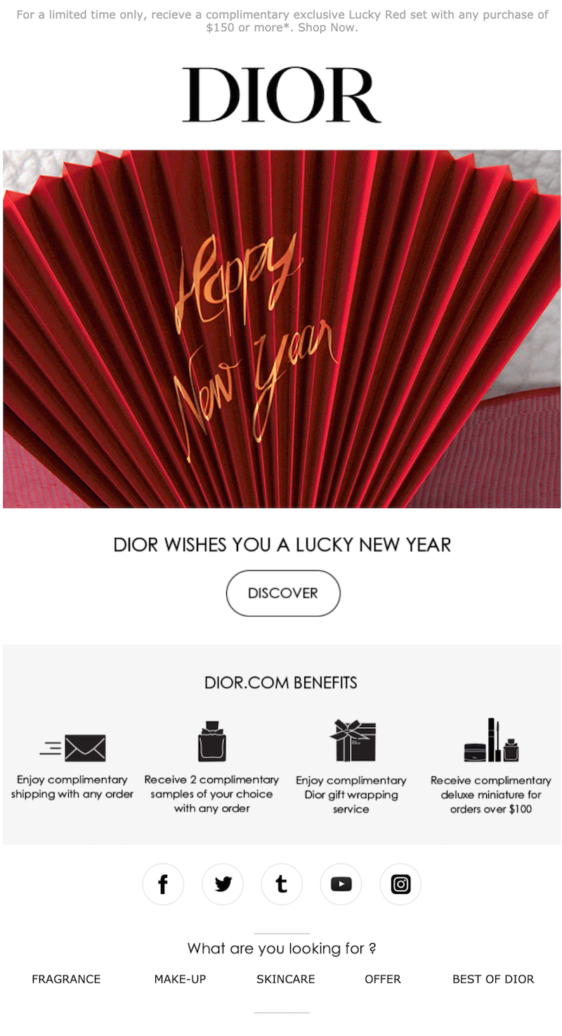 lunar new year email marketing idea