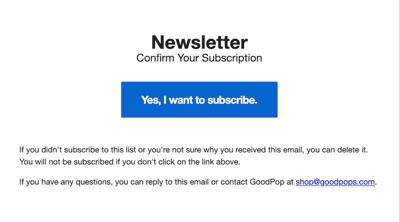 double opt-in email from goodpop