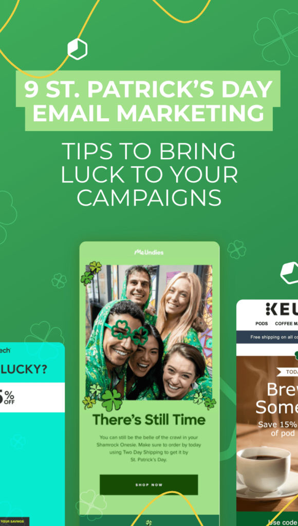 three email layout with people and green background